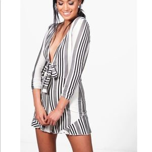 NWT Tie Front Striped Romper